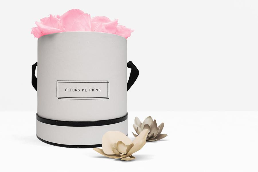 Fleurs de Paris Rund Weiß Medium Bridal Pink