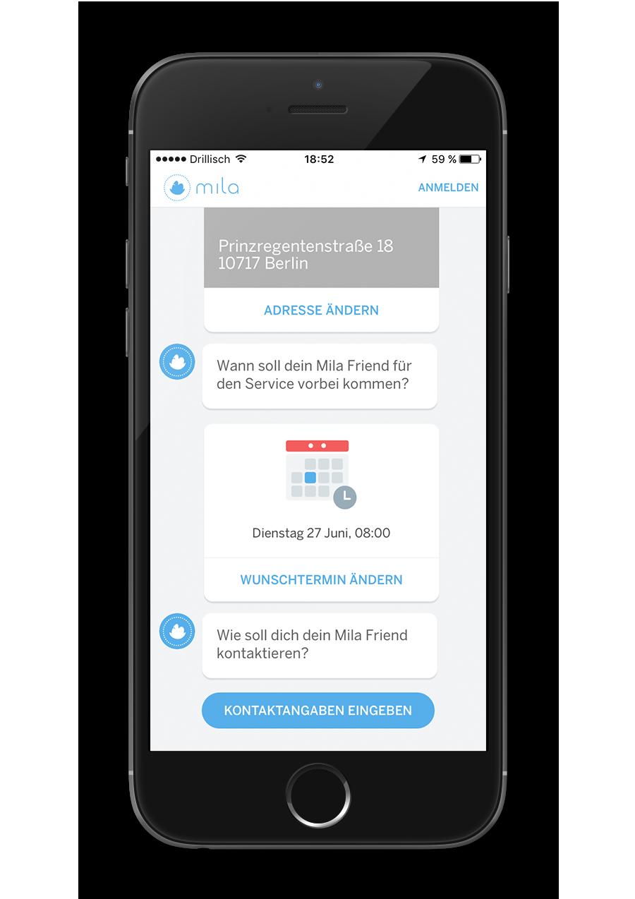 Mila - Native App - Kontaktangaben