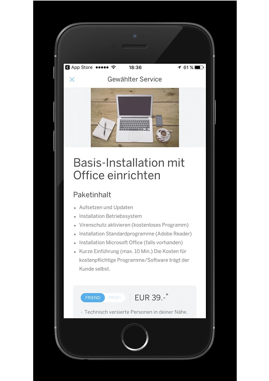 Mila - Native App - Gewählter Service