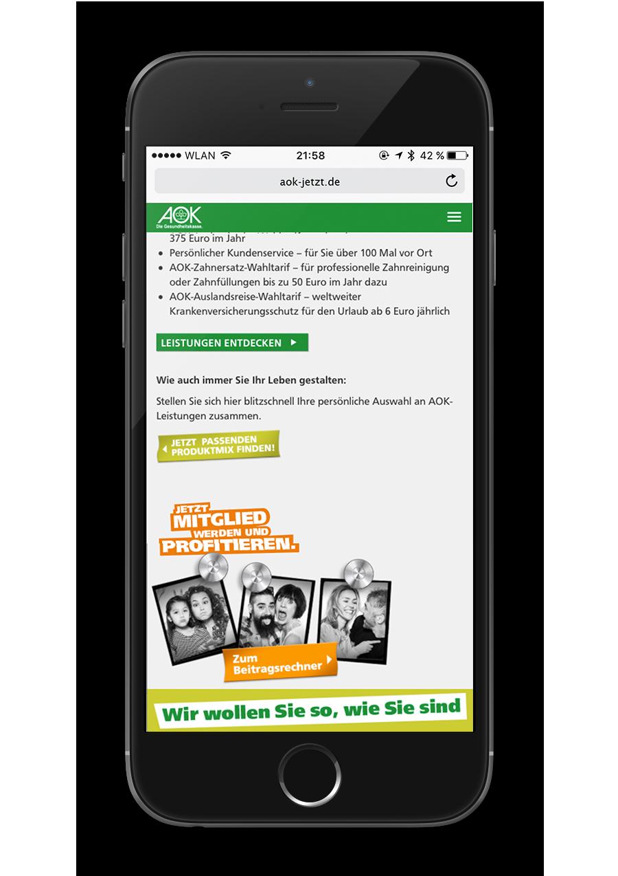 AOK Nordost - Sei der Regisseur Deines Lebens - Leistungen - Mobile