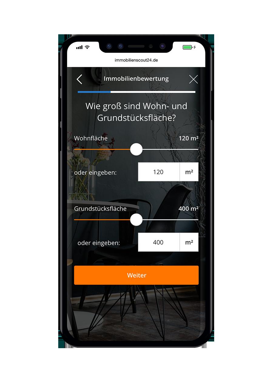 Immobilienscout24 Immobilienbewertung Fläche Mobile